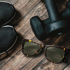glasses shoes and barbell