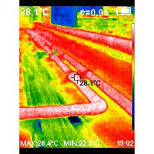 Thermal image of hot pipes