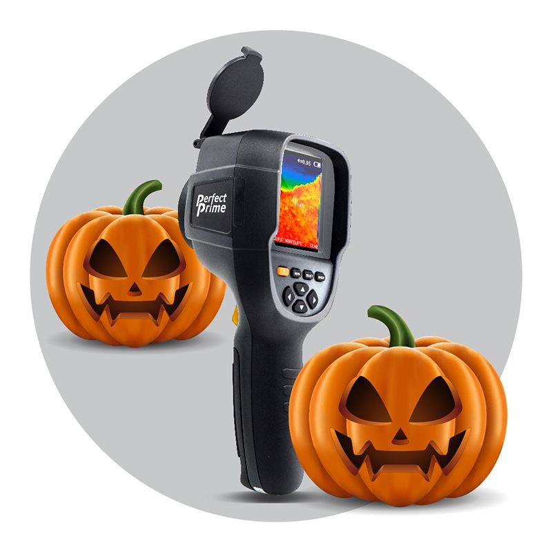 PerfectPrime IR0019 thermal camera with two pumpkins that have ghostly smile carved in