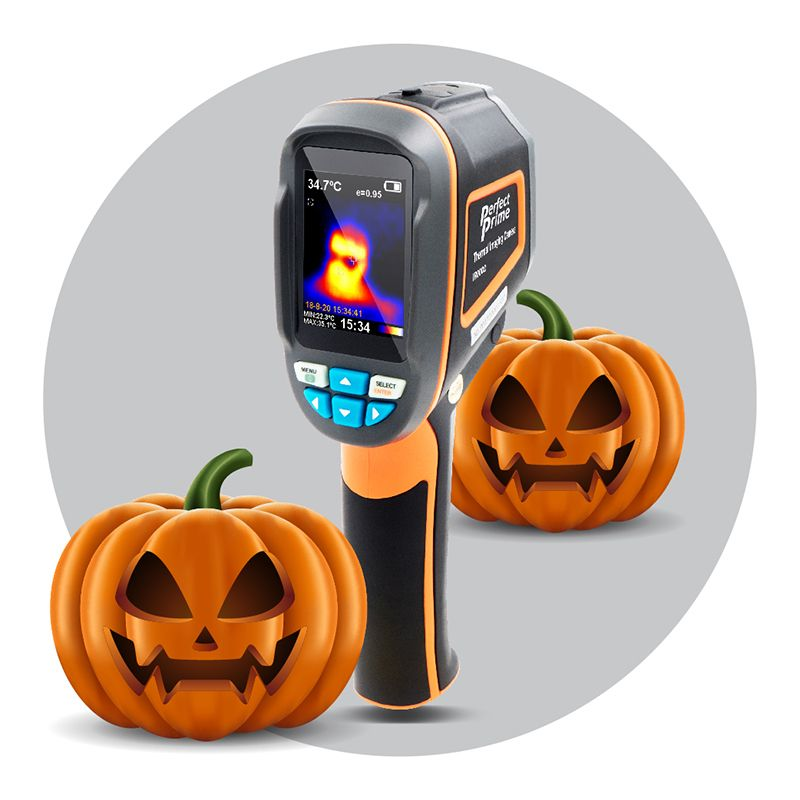 Perfectprime IR0002 thermal camera with two pumpkins