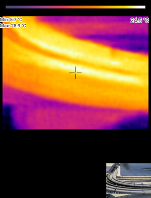 Thermal image of pipes showing high temperature
