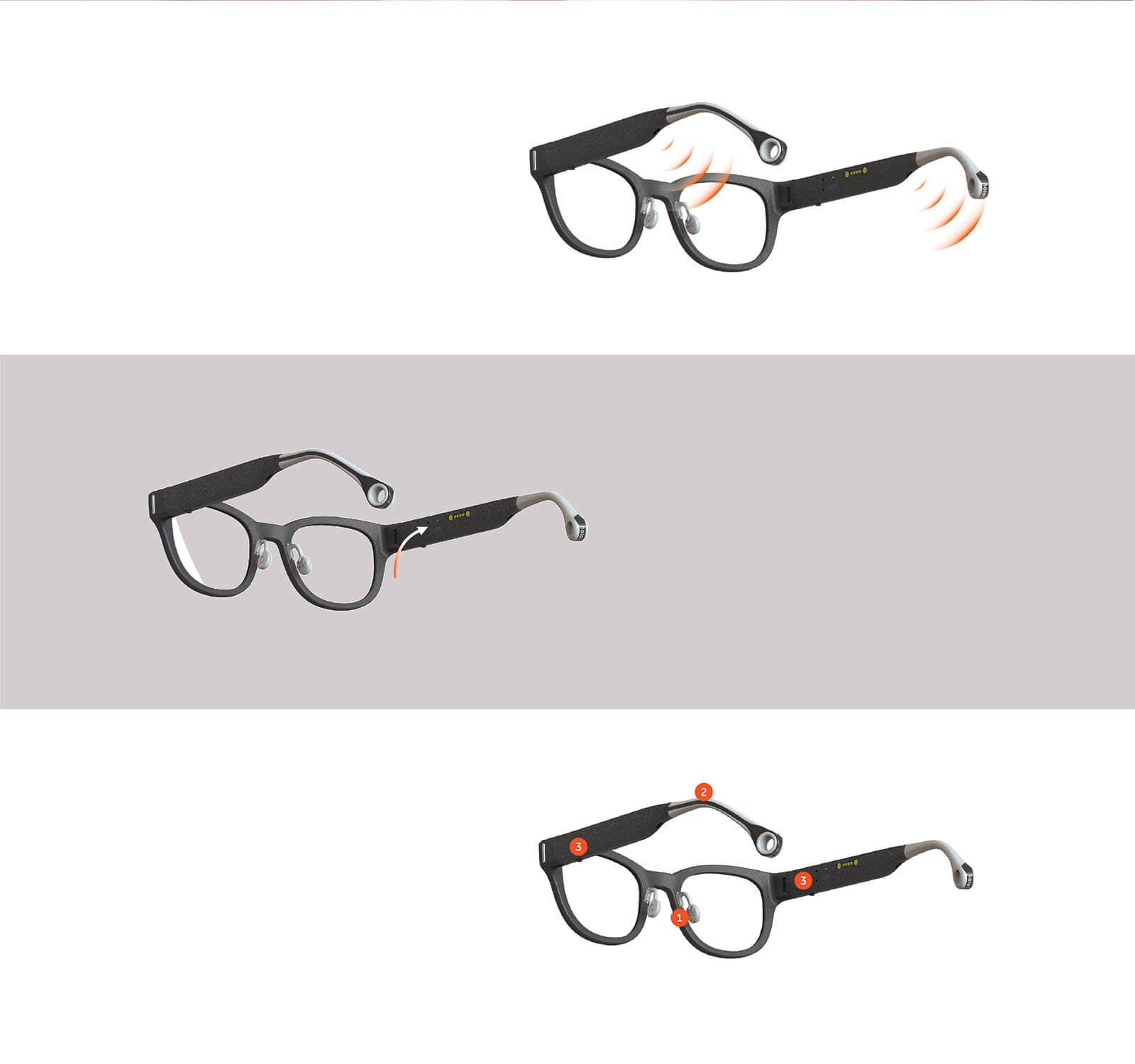 3 Solos glasses features