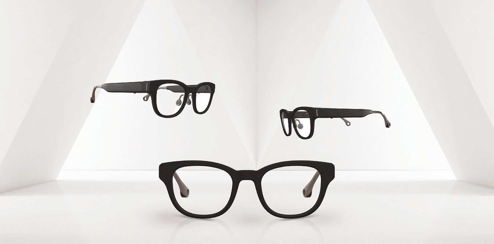 3 different side views of Solos argon glasses