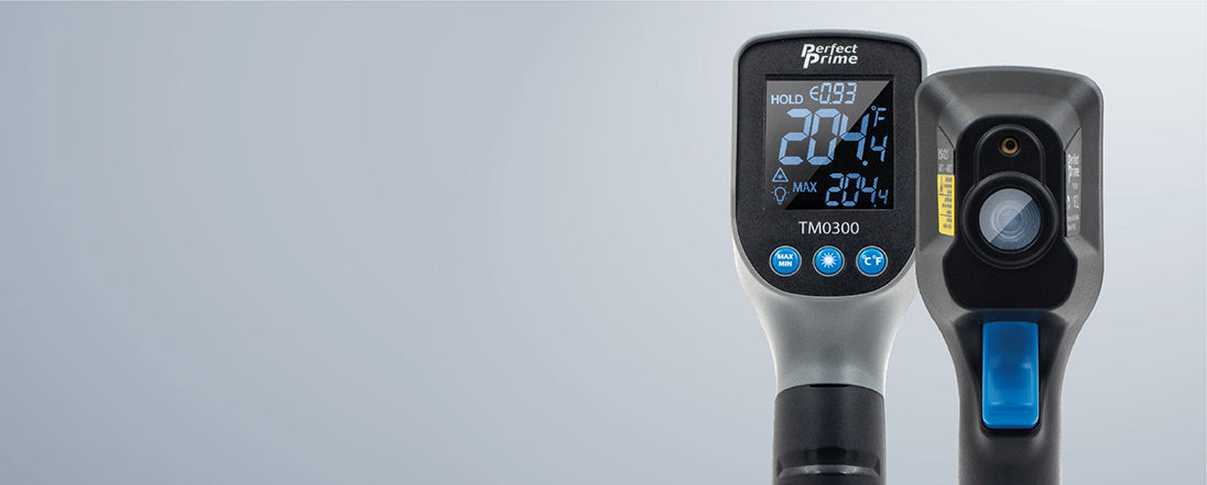 PerfectPrime TM0300 laser thermometer gun product showing back and front sides