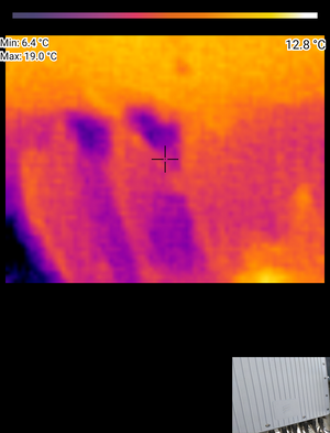 Thermal image showing temperature difference