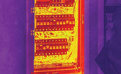 Thermal image of lots of wires and switches