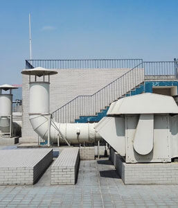 Large white wind tunnel on roof