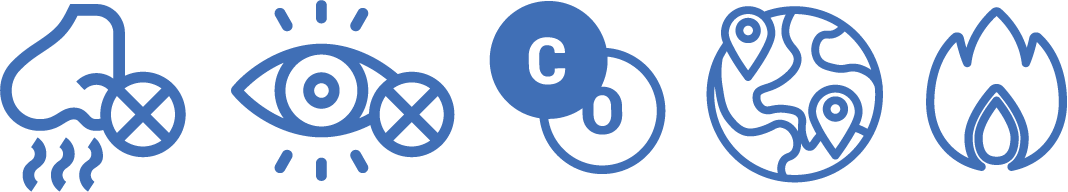 5 icons in blue displaying gas features