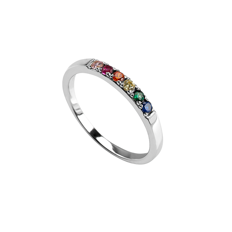 Rainbow Ring Silver
