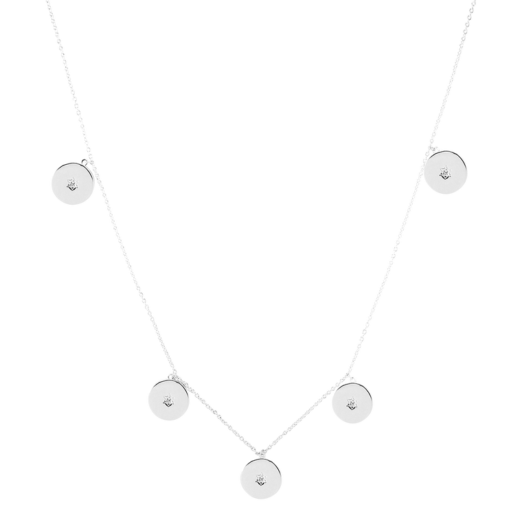 Crystal Coin Kette Silber