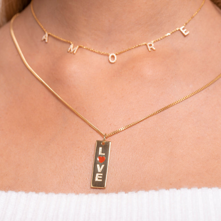 Love Bar Necklace Charm