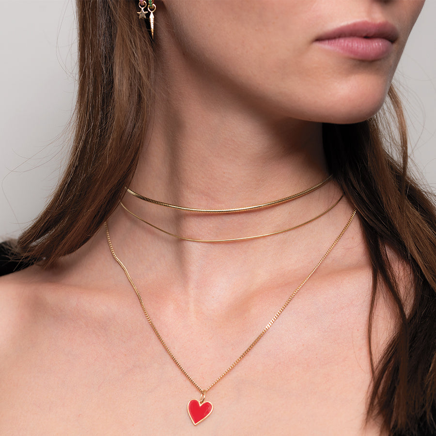 Red Heart Necklace Charm