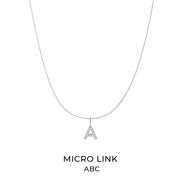 Micro Link Kette + Alphabet Charm Silber