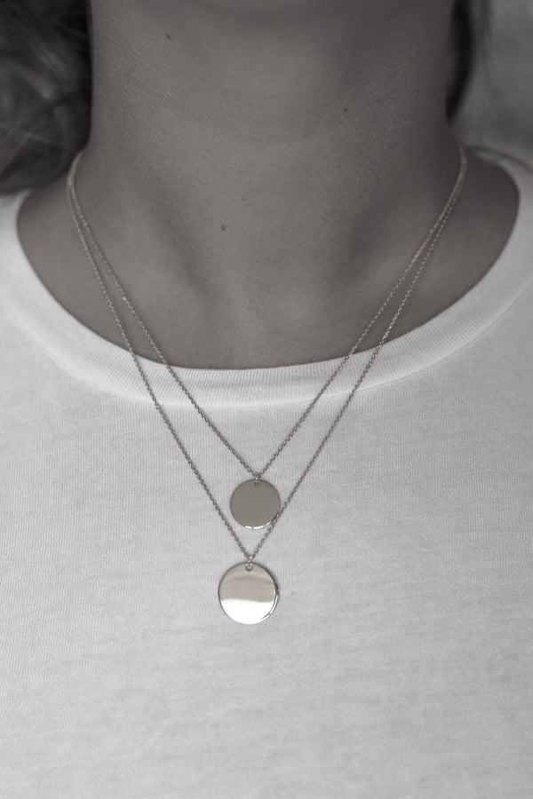 Double Coin Necklace Silver