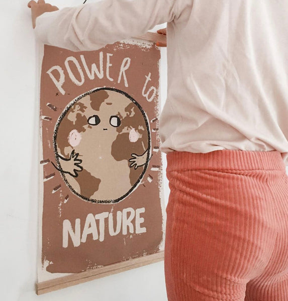 Canvas schoolposter with wooden magnetic frame-Power to nature