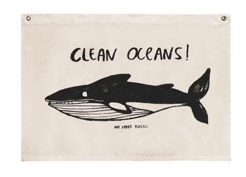 Cotton wallhanging Clean oceans