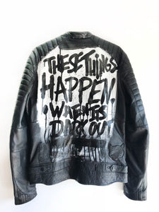 BLACK LUX Leather Jacket - These Thing Happen When Its Dark Out