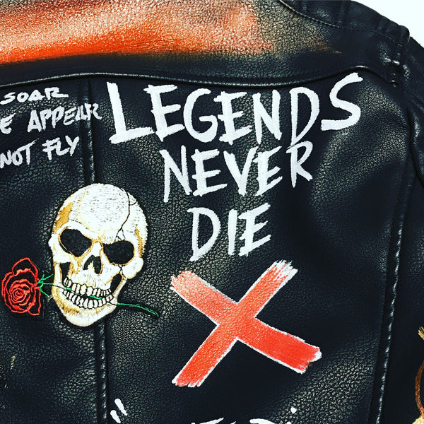 BLACK LUX LEATHER JACKET - LEGENDS NERVER DIE