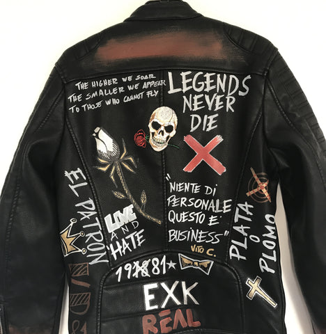 BLACK LUX LEATHER JACKET - LEGENDS NERVER DIE - EXKLUS1V