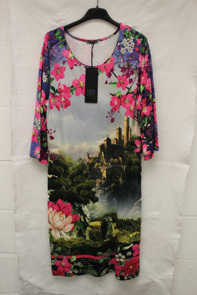 Photo Print and Floral Pattern Dress