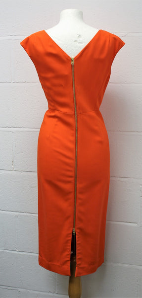 Tangerine Sleeveless Fitted Dress