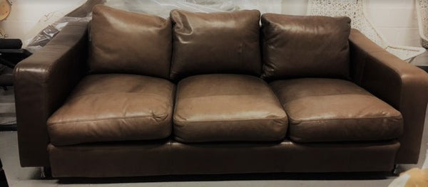 Brown Leather Suite with Suede Panelling
