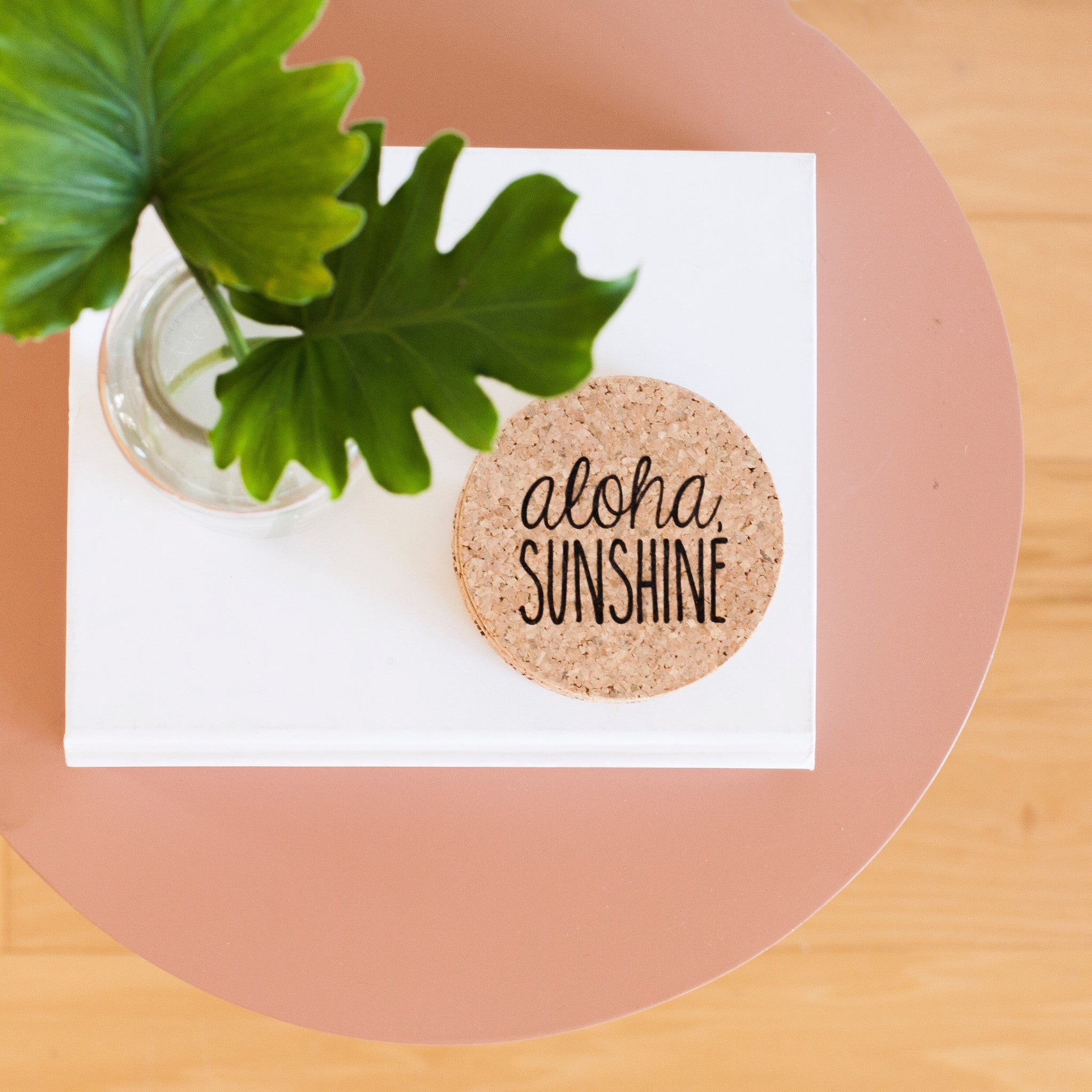 ALOHA SUNSHINE CORK COASTER MADE IN HAWAII