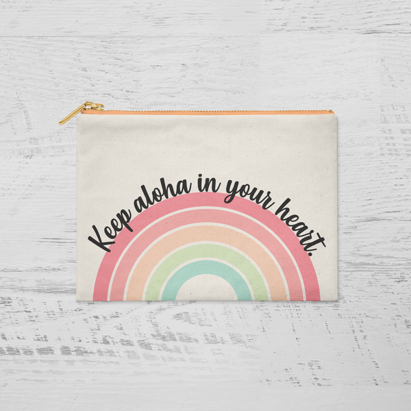 """KEEP ALOHA IN YOUR HEART"" CANVAS POUCH"