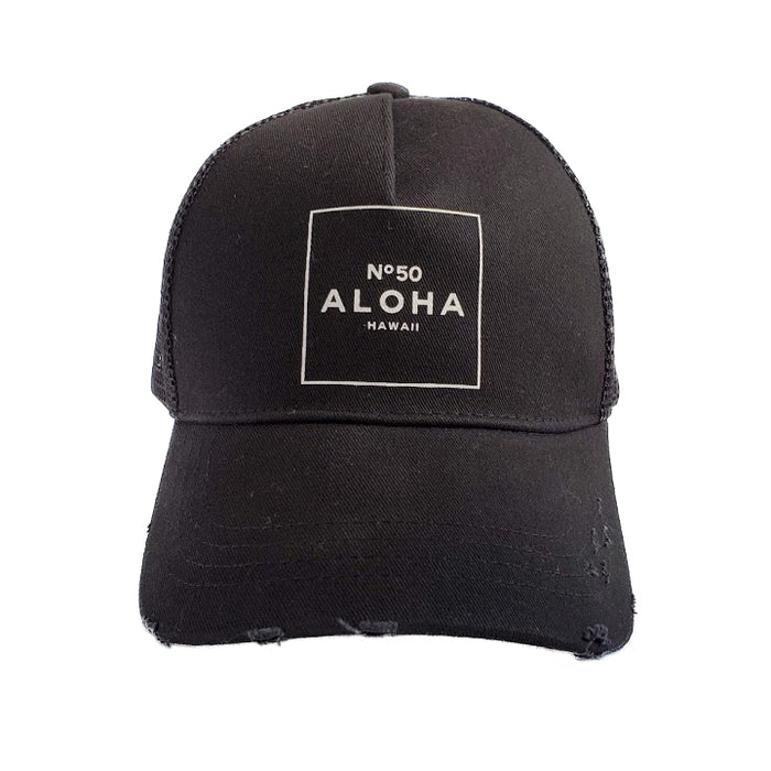 ALOHA NO. 50 DISTRESSED TRUCKER HAT