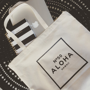 ALOHA NO. 50 - NATURAL CANVAS ZIIPPER TOTE W/HIDDEN POCKET