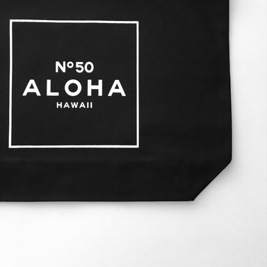 ALOHA NO. 50 ZIPPER TOTE - BLACK CANVAS