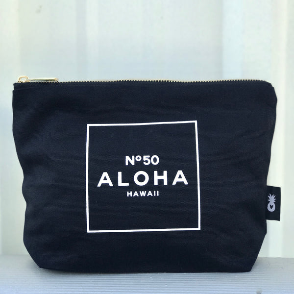 BLACK CANVAS ZIPPER POUCH - ALOHA NO. 50