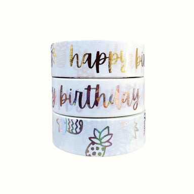 WASHI TAPE STACK 3-ROLL HAPPY BIRTHDAY
