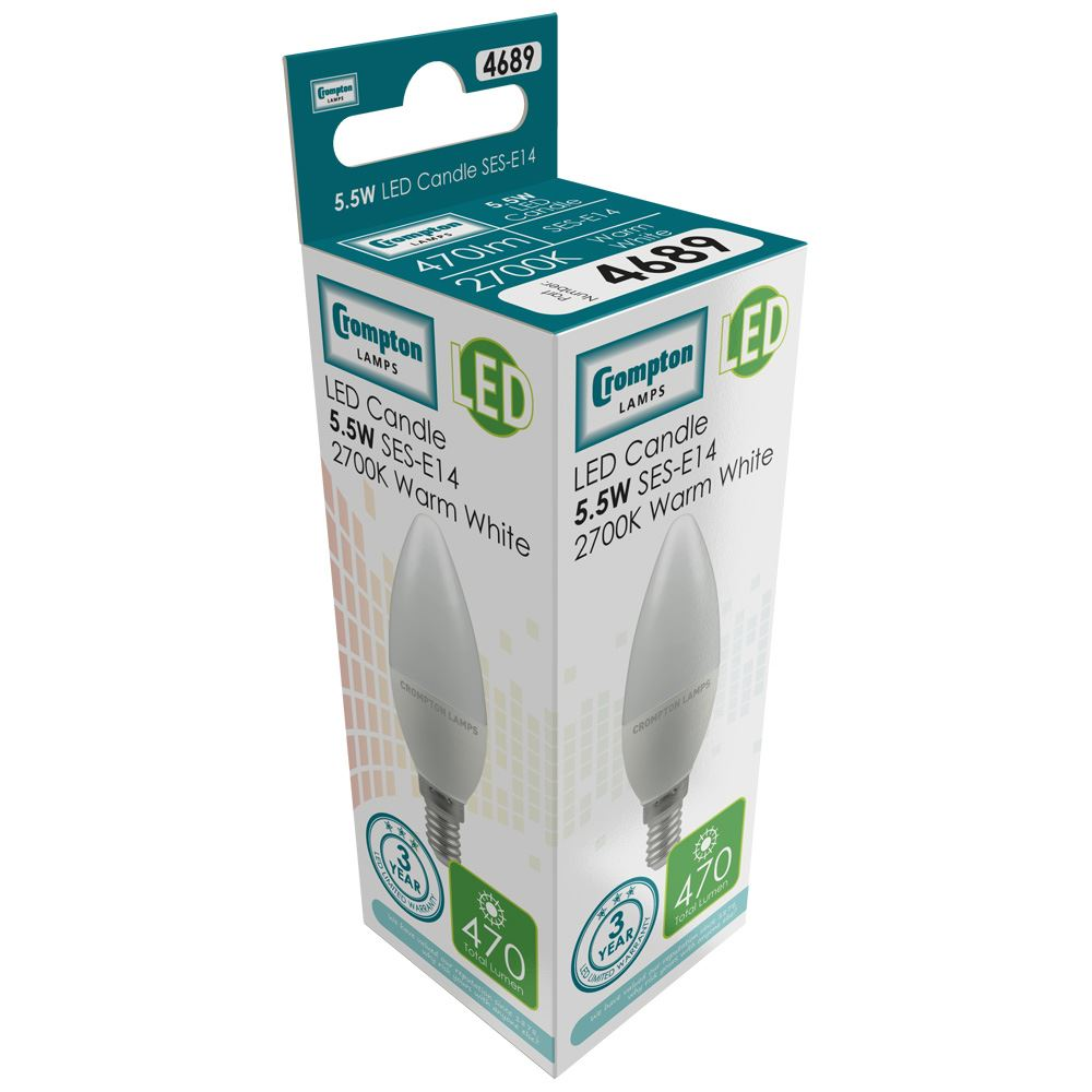 Crompton LED Candle Thermal Plastic 5.5W 4000K SES-E14