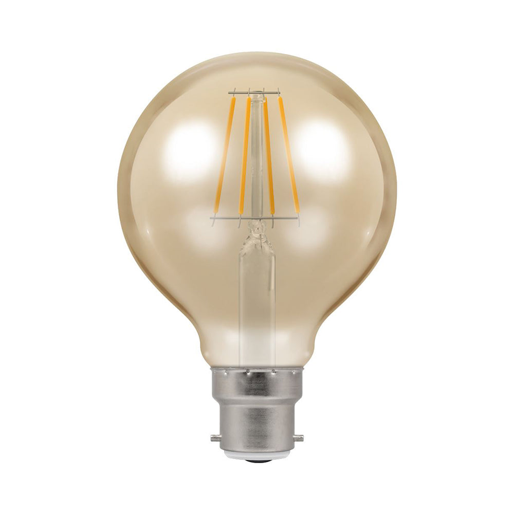 Crompton LED G80 Spiral Filament Antique 6W Dimmable 2200K BC-B22