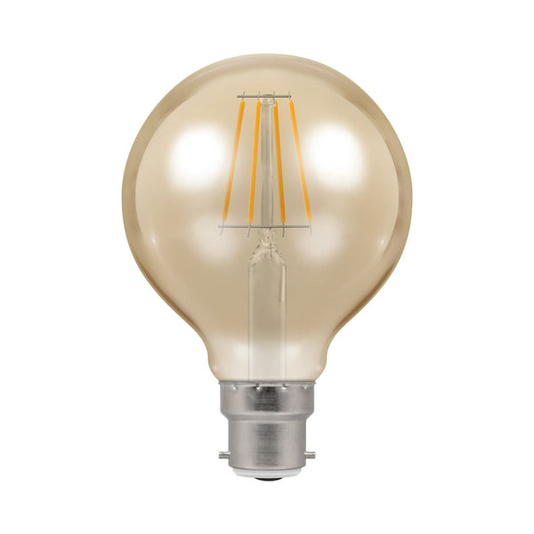 Crompton LED G80 Spiral Filament Antique 6W Dimmable 2200K BC-B22 Bulb