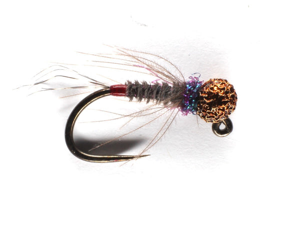 Mankov's Heron UV Red Butt Jig Nymph Brown Bead