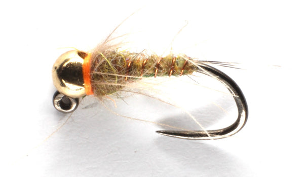 Mankov's Olive Back and Olive Hares Ear Jig Nymph Gold Bead