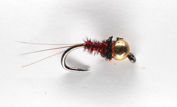 Mankov's Micro Red Pheasant Tail Gold Bead