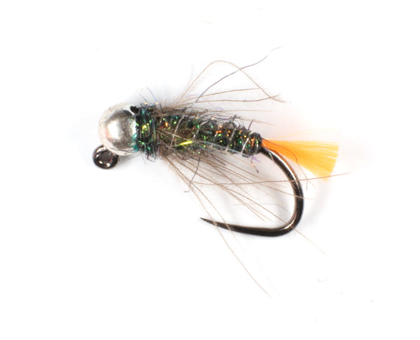 Mankov's  UV Orange Tag Jig Nymph Silver Bead