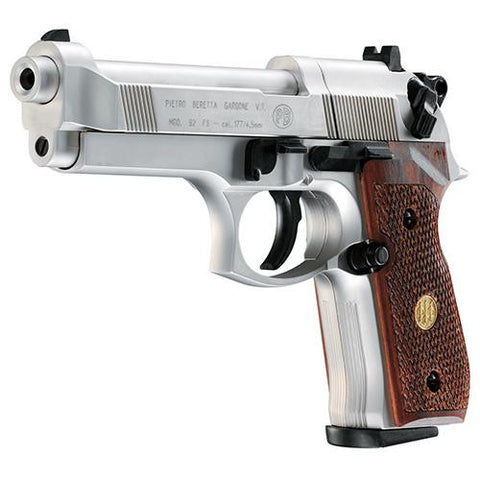 Beretta Pistol - M92FS, Nickle Finish-Wood Grips .177 Pellet