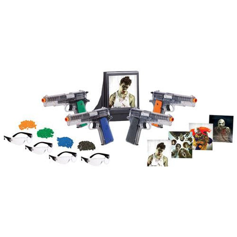Zombie Fun Kit 4 Pistol, 4 Safety Glasses, BBs, Targets