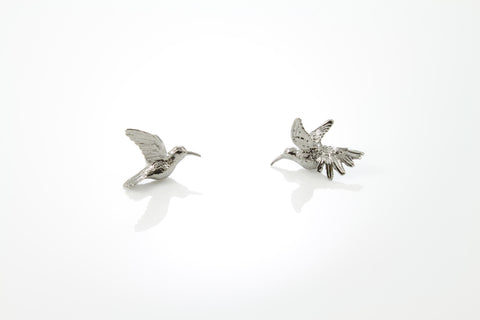 Humming Bird Earrings - Black ruthenium
