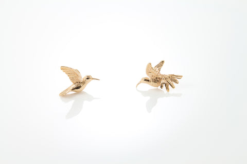 Humming Bird Earrings - Pink gold