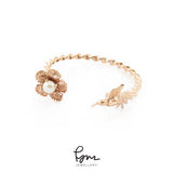 Humming Bird Bangle - Pink gold
