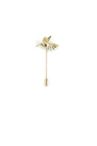 Humming Bird Lapel Pin - Gold