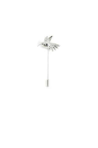 Humming Bird Lapel Pin - White gold