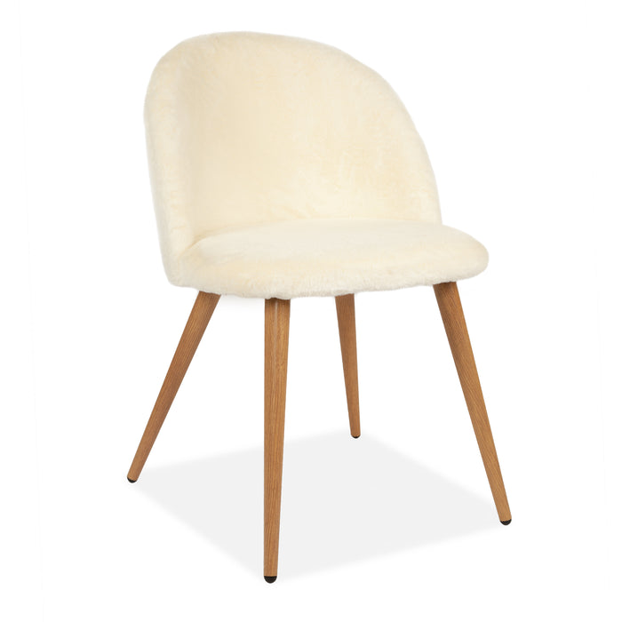 Home Rosemary Fluffy Tub Accent Chair With Beech Legs. White