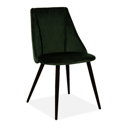 Lule Velvet Upholstered Velvet Dining Chair, Deep Green, Black Legs