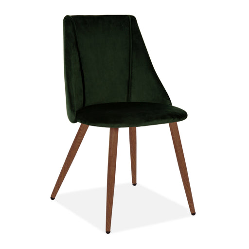 Lule Velvet Upholstered Vevlet Dining Chair, Deep Green, Walnut Legs